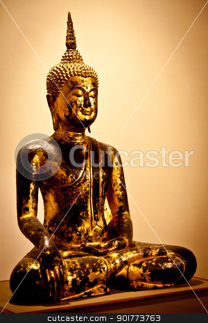 Gold Buddha stock photo, Iconic image of a classical Buddha figure by Perseomedusa