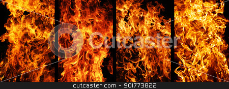 Fire stock photo, Four types of fire burning on black background by Alexey Popov