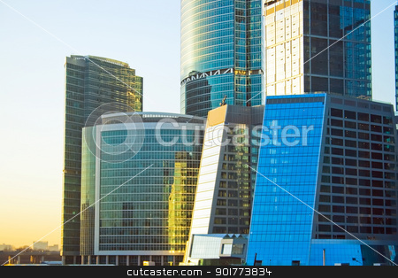 Business skyscrapers at sunset stock photo, New international skyscrapers business center of Moscow city at sunset, Russia by Alexey Popov