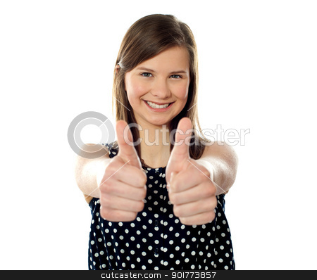 Awesome work. Keep up stock photo, Close view of a pretty teenager showing double thumbs up by Ishay Botbol