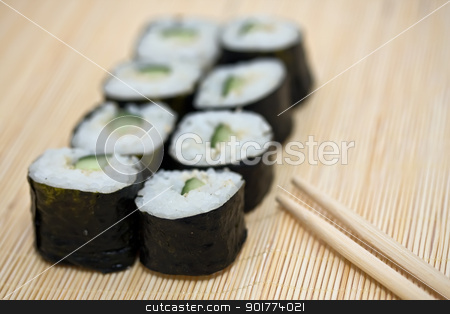Sushi stock photo, Traditional Japanese food Sushi, close-up by Alexey Popov