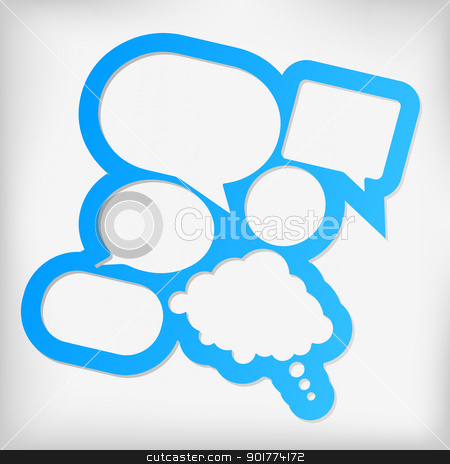 Speech Bubbles stock vector clipart, Abstract Design - Blue Speech Bubbles With Copyspace on Grey Background by JAMDesign