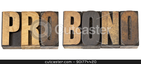 pro bono word in wood type stock photo, pro bono - free service concept -isolated text in vintage letterpress wood type by Marek Uliasz