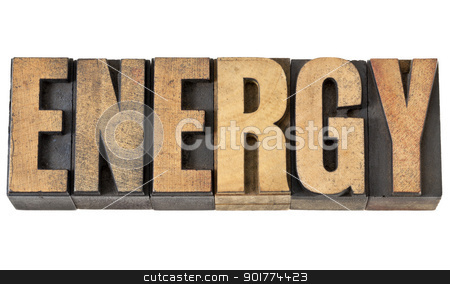 energy word in wood type stock photo, energy isolated text in vintage letterpress wood type by Marek Uliasz