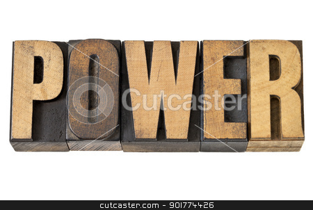 power word in wood type stock photo, power - isolated text in vintage letterpress wood type by Marek Uliasz