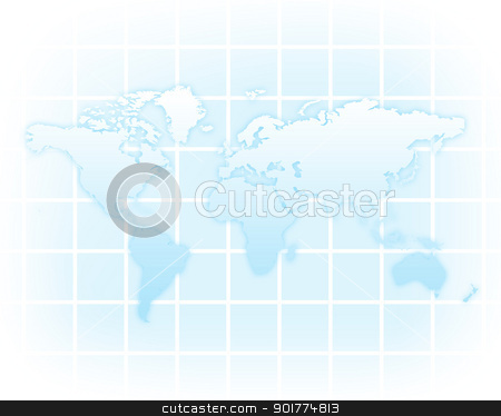 World map stock photo, Image of a light blue world map by Sergey Nivens