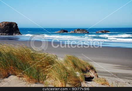 View of ocean surf stock photo, View of ocean surf on sandy Oregon beach by perlphoto