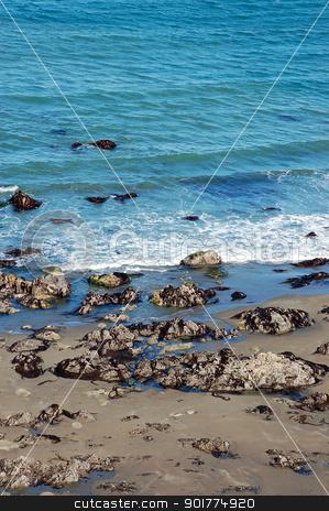Blue ocean and beach stock photo, Blue ocean waves and sandy beach by perlphoto