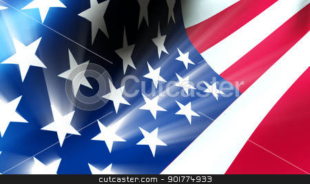 American Flag stock photo, The American flag waves in the breeze as light rays shoot from the stars. by aLunaBlue