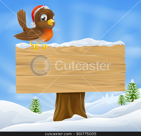 Christmas robin sign background stock vector clipart, Christmas background illustration with robin bird in Santa hat sitting on wood sign with Christmas landscape  by Christos Georghiou