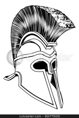Monochrome Corinthian helmet stock vector clipart, Monochrome illustration of a bronze Corinthian or Spartan helmet like those used in ancient Greece or Rome by Christos Georghiou