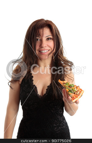 Woman holding a slice of pizza stock photo, A woman holding a slice of pizza and smiling. by Leah-Anne Thompson