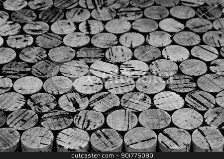Wine cork background stock photo, B&W Background pattern of wine bottles corks.Shallow DOF by borojoint