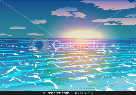 Sunset over the ocean vector stock vector clipart, Brilliant sunset over the ocean waves in the foreground. by Pavel Skrivan