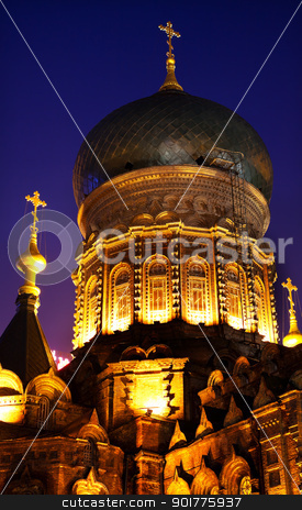 Saint Sofia Russian Orthodox Church Dome Harbin China  stock photo, Saint Sofia Russian Orthodox Church Dome Harbin China  Largest Russian Orthodox Church in China.  Built in the early 1900s, now a museum in Harbin.   by William Perry