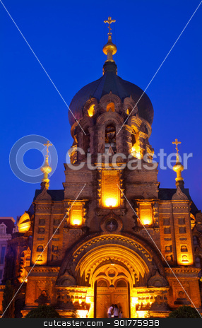 Saint Sofia Russian Orthodox Church Harbin China  stock photo, Saint Sofia Russian Orthodox Church Harbin China  Largest Russian Orthordox Church in China.  Built in the early 1900s, now a museum in Harbin.   by William Perry