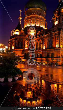 Saint Sofia Russian Orthordox Church Reflection Harbin China  stock photo, After the Rain Saint Sofia Russian Orthodox Church Reflection Harbin China  Largest Russian Orthodox Church in China.  Built in the early 1900s, now a museum in Harbin.   by William Perry