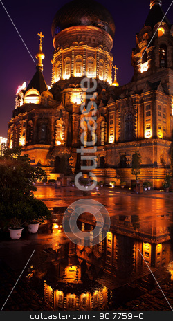 Saint Sofia Russian Orthodox Church Reflection Harbin China  stock photo, After the Rain Saint Sofia Russian Orthodox Church Reflection Harbin China  Largest Russian Orthodox Church in China.  Built in the early 1900s, now a museum in Harbin.   by William Perry
