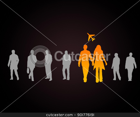 Man and woman travelling stock photo, Man and woman travelling with plane on the background by Sergey Nivens