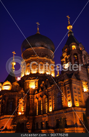 Saint Sofia Russian Orthodox Church Dome Details Harbin China  stock photo, Saint Sofia Russian Orthodox Church Side View Dome Details Harbin China  Largest Russian Orthodox Church in China.  Built in the early 1900s, now a museum in Harbin.   by William Perry