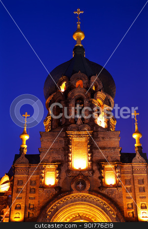 Saint Sofia Russian Orthodox Church Harbin China  stock photo, Saint Sofia Russian Orthodox Church Harbin China  Largest Russian Orthodox Church in China.  Built in the early 1900s, now a museum in Harbin.   by William Perry