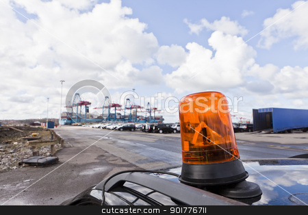 Commercial Dock stock photo, Red Light at the commercial dock by Anne-Louise Quarfoth
