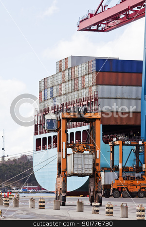 Loaded containers stock photo, Loaded containers at the commercial dock by Anne-Louise Quarfoth