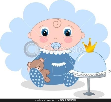 baby boy announcement stock vector clipart, baby boy announcement by Popocorn