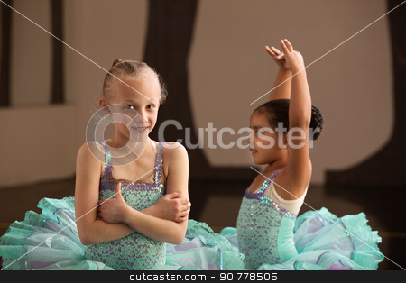 Pretty Young Ballet Students stock photo, Pretty little ballet students in performance dresses by Scott Griessel