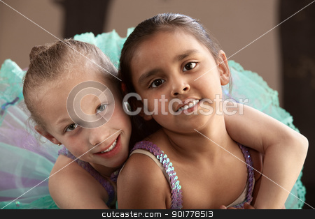 Best Friends Hugging stock photo, Young ballet student gives her friend a hug by Scott Griessel