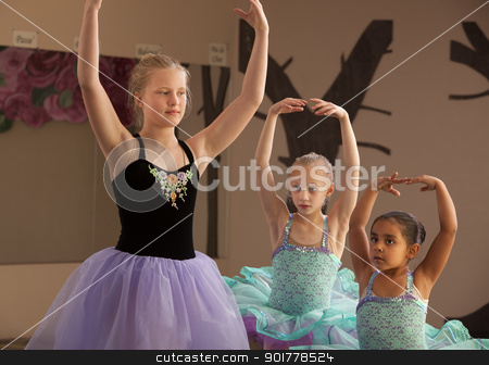 Dance Students Practice Together stock photo, Three female dance students of different ages practicing together by Scott Griessel