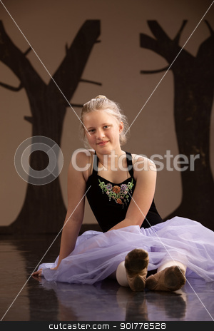 Teen in Ballet Dress stock photo, Teenage girl in ballet dress sitting on the floor by Scott Griessel