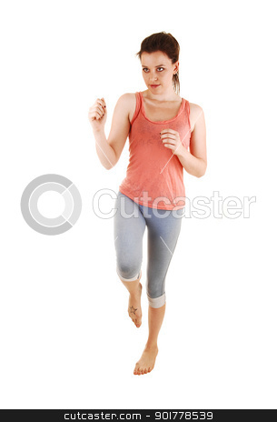 Girl running barefoot. stock photo, A lovely young woman running in the studio for white background in blue thighs and a pink t-shirt and bare foot.  by Horst Petzold