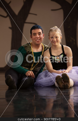 Young Male and Female Dancers stock photo, Young blond ballet student with handsome instructor by Scott Griessel