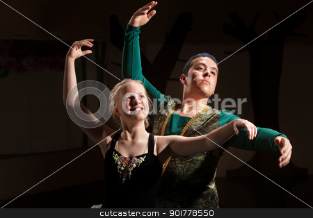 Duo Ballet Performance stock photo, Young blond dance student rehearsing with man by Scott Griessel