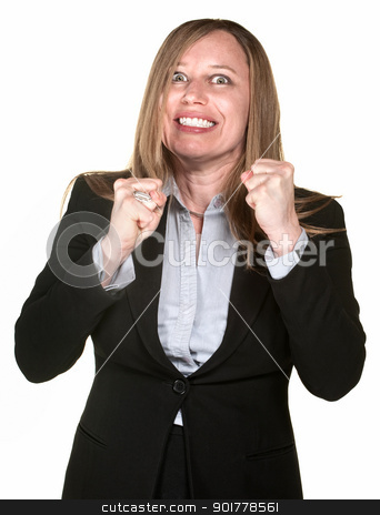 Excited Businesswoman stock photo, Excited pretty Hispanic businesswoman over white background by Scott Griessel