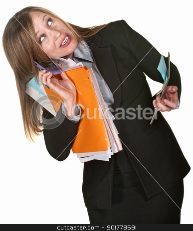Multi-tasking Business Lady stock photo, Busy executive with phone, folders and tablet over white background by Scott Griessel