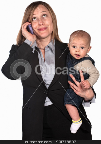 Working Mother on Phone stock photo, Female worker on phone holding baby over white background by Scott Griessel