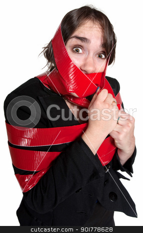 Woman In Red Tape stock photo, Scared businesswoman wrapped in red tape over white background by Scott Griessel