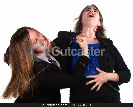 Businesswoman Fighting Each Other stock photo, Angry businesswoman in a fist fight over white background by Scott Griessel