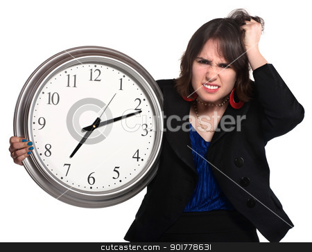 Lady Working Long Hours stock photo, Confused businesswoman with clock past seven over white background by Scott Griessel