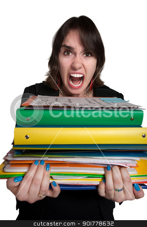Overworked Worker stock photo, Screaming mad office worker with binders of work by Scott Griessel