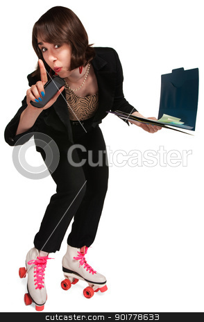 Businesswoman on Skates stock photo, Cute businesswoman in pink laced skates and binder by Scott Griessel