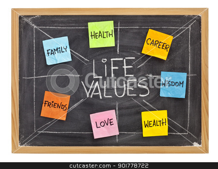 life values concept on blackboard stock photo, possible life values  - career, family, wealth, love, friends, health, wisdom, white chalk with sticky notes on isolated blackboard by Marek Uliasz