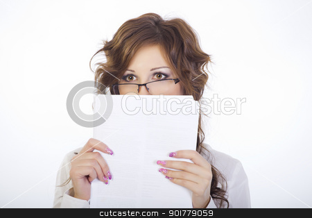 Girl with glasses stock photo, Portrait of a girl on a white background. Covers the individual documents. The concept, fear, surprise, guilt. by fogen