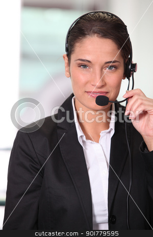 Customer service woman smiling stock photo, Customer service woman smiling by photography33