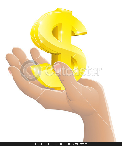 Dollar in the hand concept stock vector clipart, Illustration of a gold dollar sign being held in a hand by Christos Georghiou