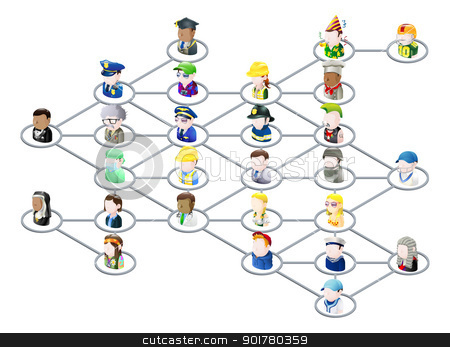People network graphic stock vector clipart, Graphic of a network of people linked together like on social media or on the net in general by Christos Georghiou