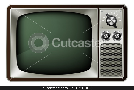 Retro TV Illustration stock vector clipart, Illustration of a retro style old fashioned television by Christos Georghiou