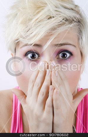 Shocked Blonde Girl stock photo, Close up portrait image of a shocked blonde girl by HypnoCreative